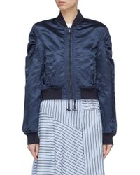 Tibi - Ruched Cropped Bomber Jacket - Lyst