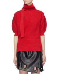 Self-Portrait - Tie Neck Puff Sleeve Cotton-wool Turtleneck Sweater - Lyst