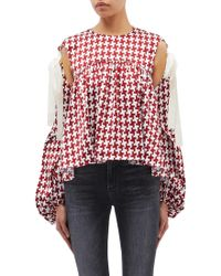 Hellessy - 'bay' Tie Cold Shoulder Balloon Sleeve Houndstooth Top - Lyst