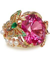 Anabela Chan - 'swallowtail' Diamond Gemstone Freshwater Pearl Ring - Lyst