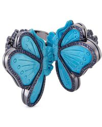 Lydia Courteille - Diamond Sapphire Turquoise 18k Gold Butterfly Two Finger Ring - Lyst