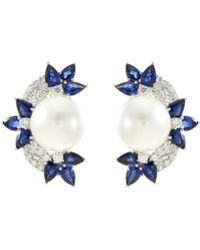 LC COLLECTION - Diamond Sapphire Pearl 18k White Gold Cluster Earrings - Lyst