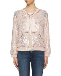 Needle & Thread - 'floral Gloss' Sequin Georgette Pussybow Bomber Jacket - Lyst