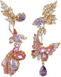 Anabela Chan - 'rose Garden Butterfly' Diamond Gemstone Mismatched Detachable Drop Earrings - Lyst