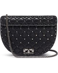 Valentino - 'rockstud Spike' Quilted Leather Saddle Bag - Lyst