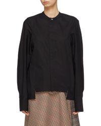 Ffixxed Studios - Staggered Hem Mandarin Collar Cocoon Shirt - Lyst
