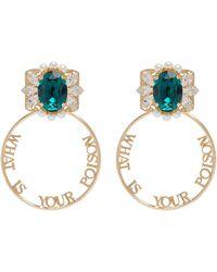Anton Heunis - Detachable Swarovski Pearl Crystal Slogan Hoop Earrings - Lyst