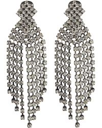 Kenneth Jay Lane - Glass Crystal Waterfall Fringe Drop Clip Earrings - Lyst