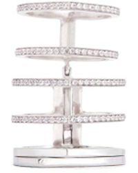 Repossi | 'antifer' Diamond Pavé 18k White Gold Six Row Linked Ring | Lyst