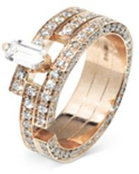 Dauphin - 'disruptive' Pavé Diamond 18k Rose Gold Three Tier Ring - Lyst