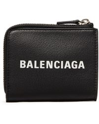 Balenciaga - 'everyday' Logo Embossed Leather Zip Key Case - Lyst