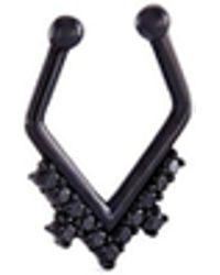 Lynn Ban - Diamond Rhodium Silver Hoop Single Nose Ring - Lyst