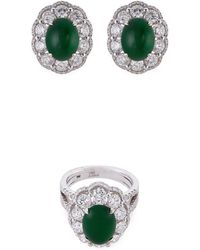 LC COLLECTION - Diamond Jade 18k White Gold Ring And Earrings Set - Lyst