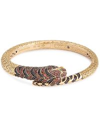 John Hardy | Diamond Sapphire Tourmaline 18k Yellow Gold Macan Bangle | Lyst