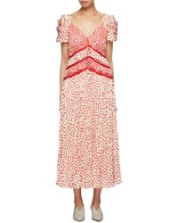 Self-Portrait - Dot Satin Printed Dress - Lyst