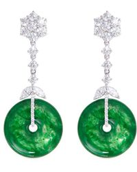 LC COLLECTION - Diamond Jade 18k White Gold Disc Drop Earrings - Lyst