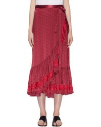 Figue - 'aurora' Floral Embroidered Ruffle Polka Dot Wrap Skirt - Lyst