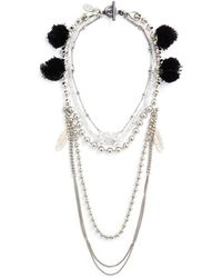 Venna - Multi Chain Pompom Necklace - Lyst