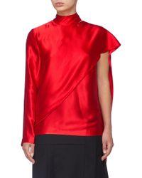 Matériel - Asymmetric Drape One-sleeve Silk Mock Neck Top - Lyst