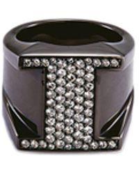 Lynn Ban - 'pave I' Diamond Rhodium Silver Ring - Lyst