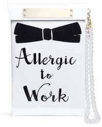 Cecilia Ma - 'allergic' Slogan Faux Leather Clutch - Lyst