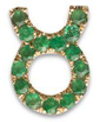 Loquet London - 18k Yellow Gold Emerald Zodiac Charm - Taurus - Lyst