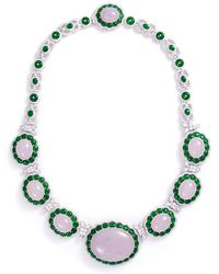 LC COLLECTION - Diamond Jade 18k White Gold Necklace - Lyst