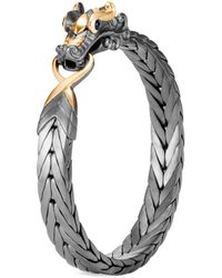 John Hardy - 'legends Naga' Sapphire 18k Yellow Gold Rhodium Silver Bangle - Lyst