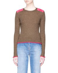 Rag & Bone - 'rowan' Contrast Shoulder Merino Wool Cropped Sweater - Lyst