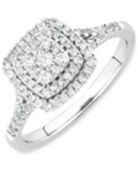 LC COLLECTION - Diamond Pavé 18k White Gold Ring - Lyst