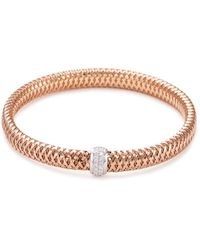 Roberto Coin | 'primavera' Diamond 18k Rose And White Gold Bracelet | Lyst