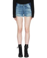 3x1 - 'mason' Contrast Outseam Frayed Denim Shorts - Lyst