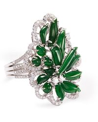 LC COLLECTION - Diamond Jade 18k Gold Floral Ring - Lyst