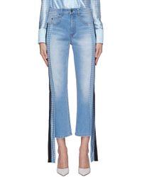 Hellessy - 'pluto' Stripe Drape Silk Panel Outseam Jeans - Lyst