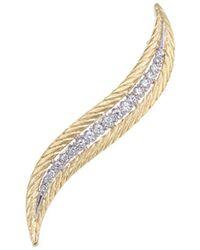 Buccellati - Diamond 18k Gold Feather Brooch - Lyst