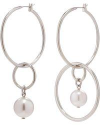 Joomi Lim - 'not Your Basic' Swarovski Pearl Mismatched Medium Hoop Earrings - Lyst