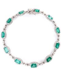 LC COLLECTION | Diamond Emerald 18k White Gold Bracelet | Lyst