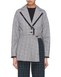 Sandy Liang - 'lizzie' Lace Trim Houndstooth Check Plaid Cropped Blazer - Lyst