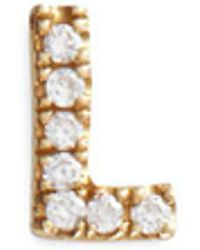 Loquet London - Diamond 18k Yellow Gold Letter Charm – L - Lyst