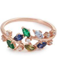 Anabela Chan - 'ivy' Emerald Sapphire Peridot 9k Rose Gold Ring - Lyst