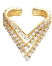 Lynn Ban - 'chevron' Diamond 14k Gold Single Ear Cuff - Lyst