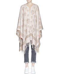 Alexander McQueen - Skull Jacquard Wool-cashmere Knit Cape - Lyst