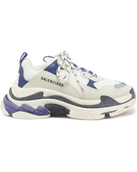Balenciaga - Triple S Logo-embroidered Leather, Nubuck And Mesh Trainers - Lyst