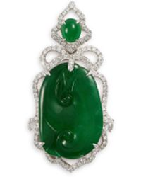 LC COLLECTION - Diamond Jade 18k White Gold Pendant - Lyst