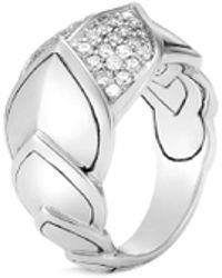 John Hardy - 'legends Naga' Diamond Silver Medium Saddle Ring - Lyst
