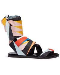 Pierre Hardy - 'zig Zag' Interchangeable Scarf Tie Colourblock Slide Sandals - Lyst