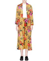 Alice + Olivia | 'kalena' Floral Print Jacquard Satin Kaftan | Lyst