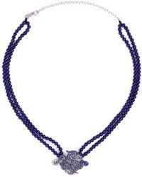 Wendy Yue - Diamond Sapphire Lapis 18k White Gold Dragon Pendant Necklace - Lyst