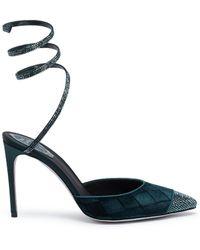 Rene Caovilla - 'snake' Strass Toe Coil Anklet Velvet Pumps - Lyst
