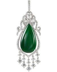 LC COLLECTION - Diamond Jade 18k White Gold Chandelier Pendant - Lyst